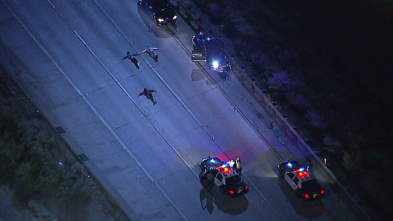 At least three suspects have been detained and the southbound side of the 14 Freeway was shut down in Newhall because of a possible road rage incident.