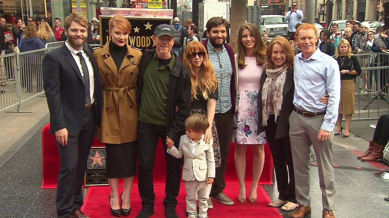 Ron Howard poses with his family at the second star hes received on the Hollywood Walk of Fame on Thursday, Dec. 10, 2015.