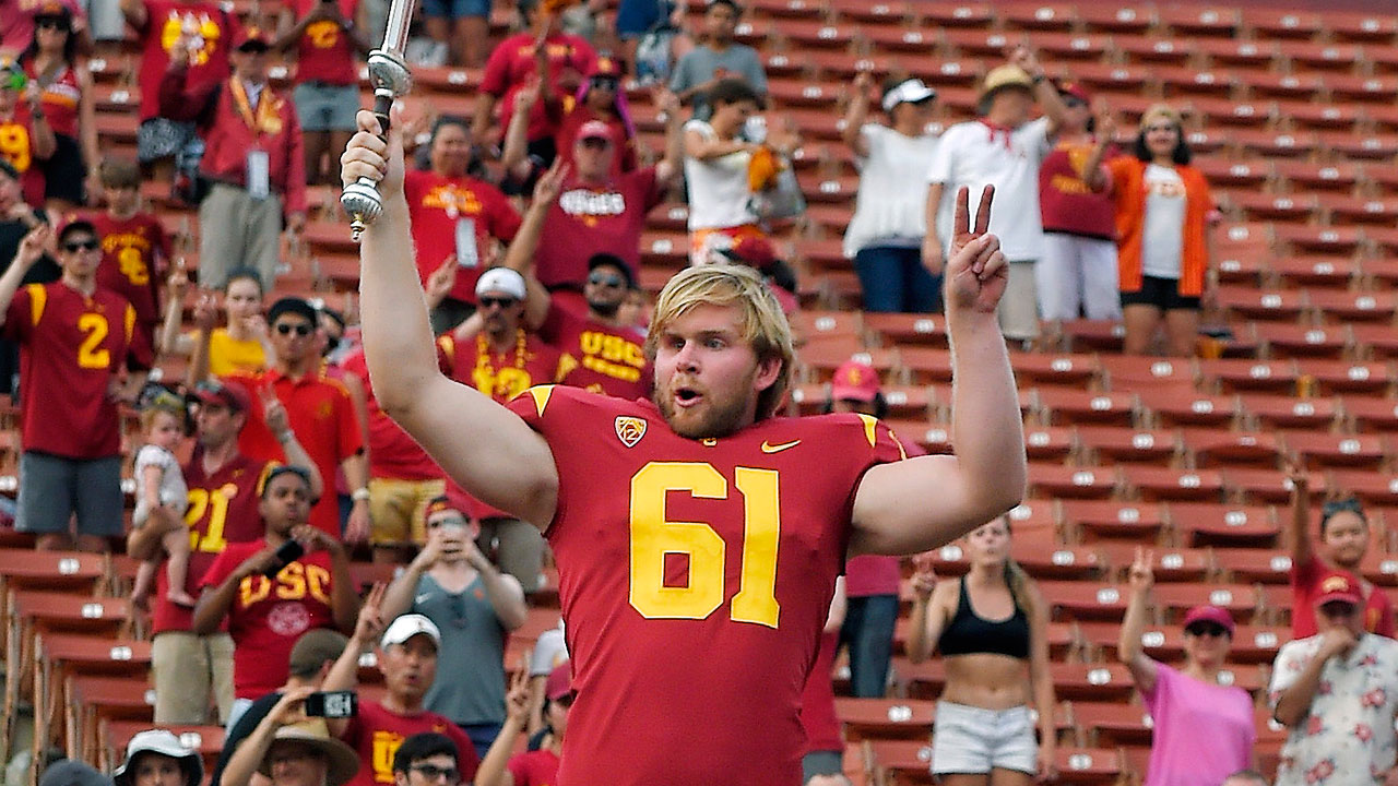 USC long snapper Jake Olson leads the USC Trojan Marching Band following a game against Western Michigan on Sept. 2, 2017, in Los Angeles.