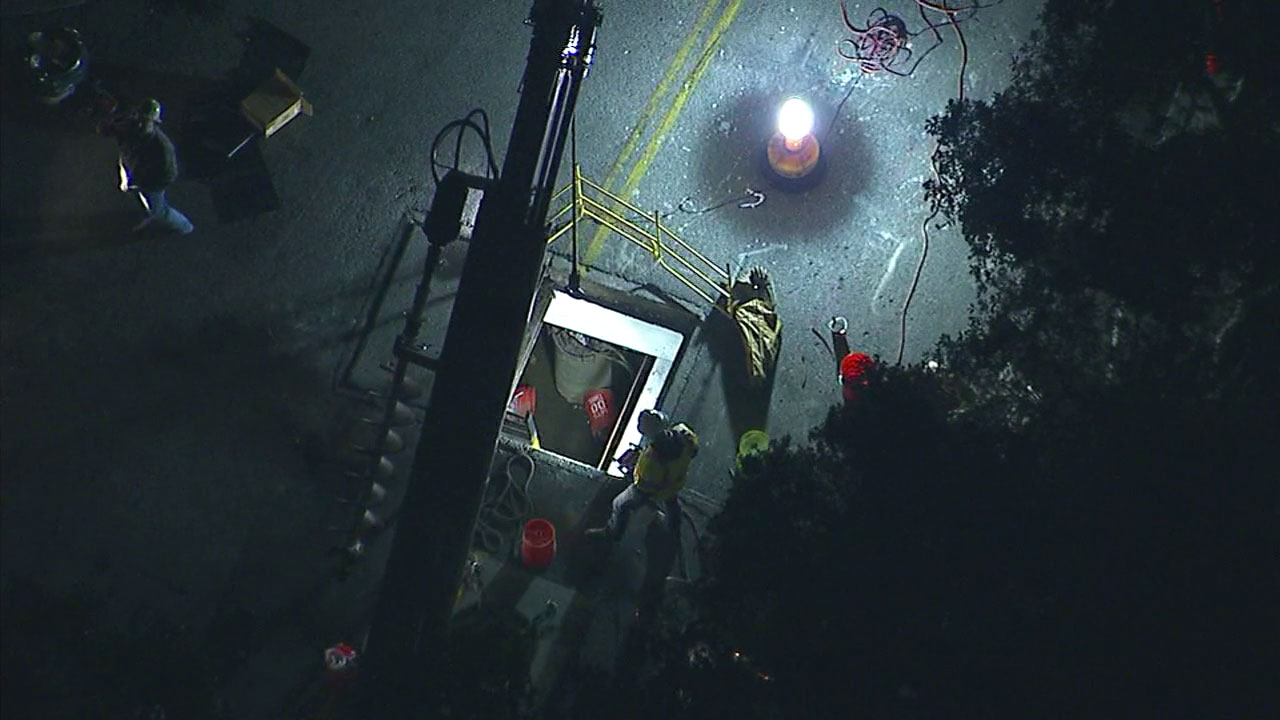 A vault where an explosion left at least five workers injured is shown in Long Beach.
