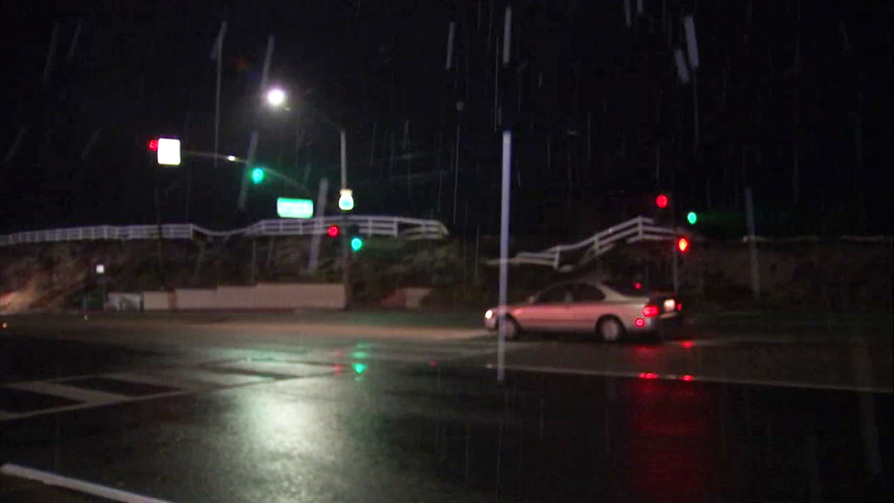 Rain drops come down in Oak Park, an area at risk for mudslides following the Woolsey Fire.