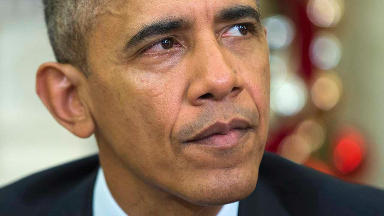 President Barack Obama makes a statement on the San Bernardino terror attack in the Oval Office of the White House on Thursday, Dec. 3, 2015.