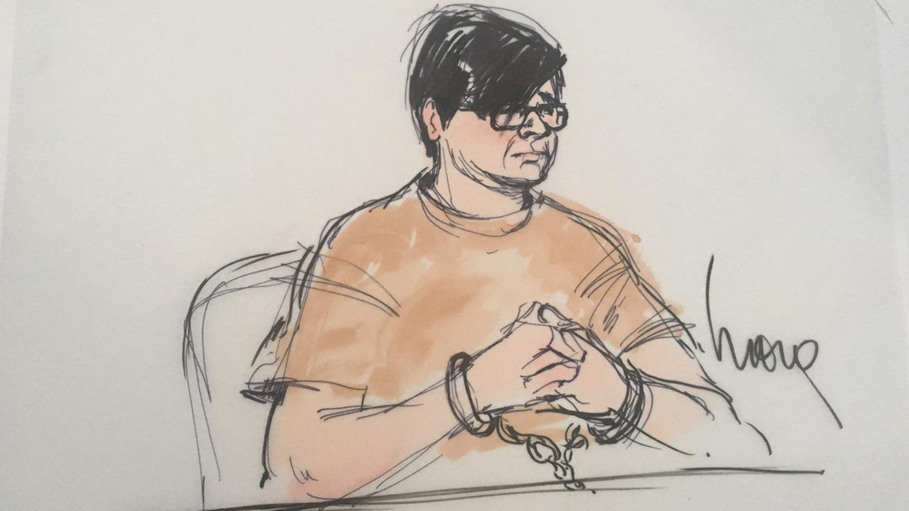 Enrique Marquez, 24, is shown in sketches from his arraignment on Thursday, Dec. 17, 2015.
