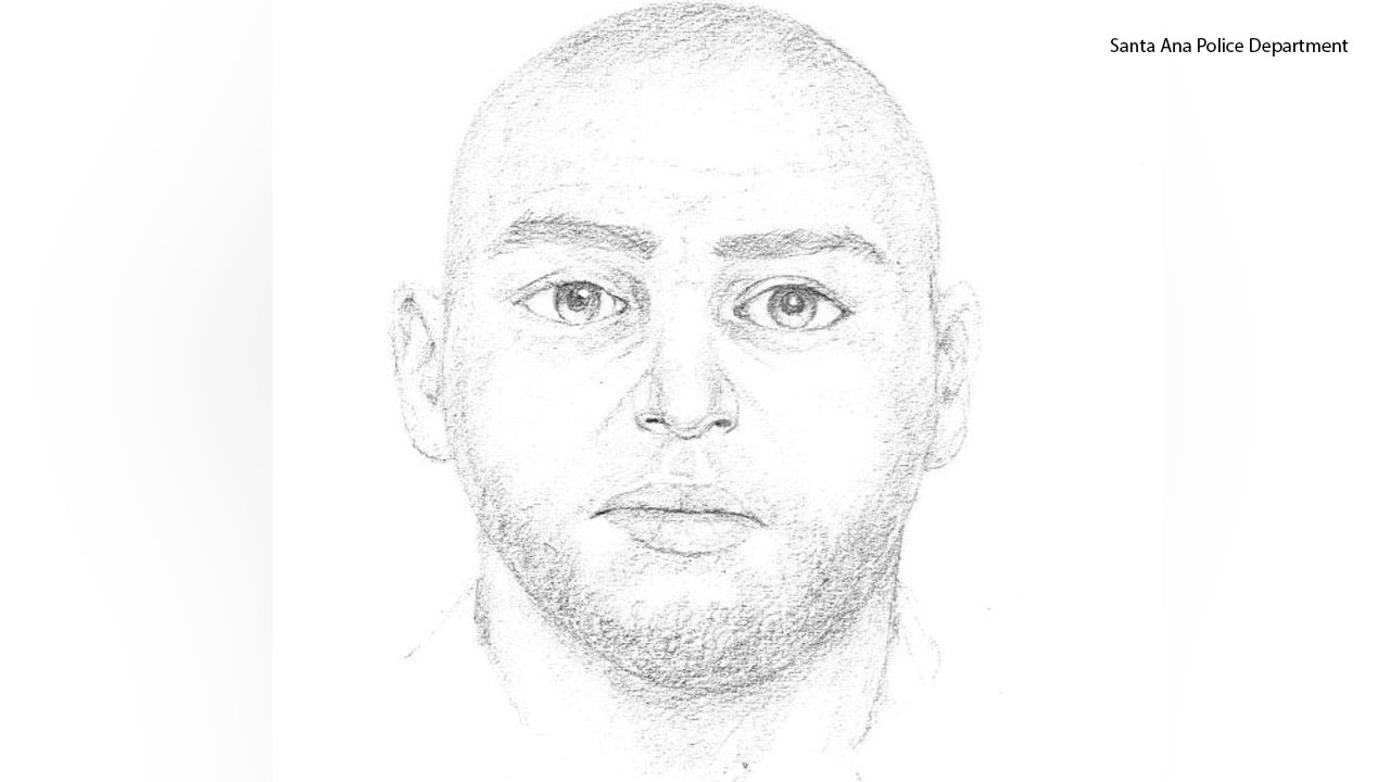 A sketch of a suspect being sought in the violent sexual assault of a 14-year-old at a Santa Ana park.