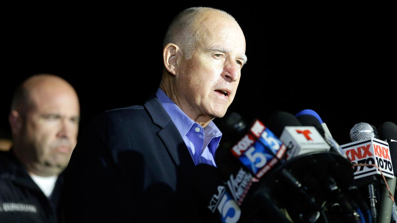 Gov. Jerry Brown reacts as he speaks during a press conference near the site of yesterdays mass shooting on Thursday, Dec. 3, 2015 in San Bernardino, Calif.