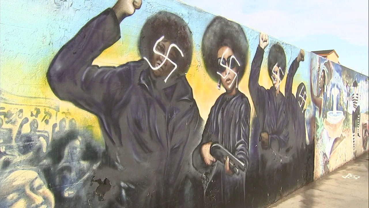 A mural in the Crenshaw District is vandalized with swastikas painted over four Black Panther movement figures on Thursday, Nov. 29, 2018.