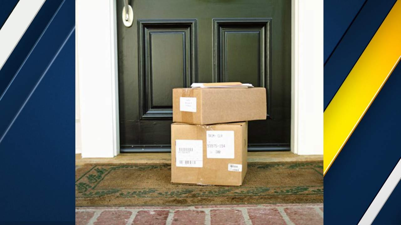 A photo provided by Arcadia police shows mail packages with GPS devices to track mail thieves.