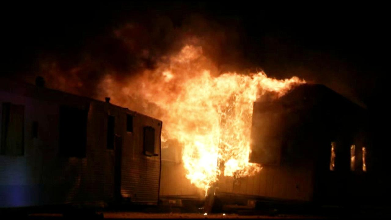A fire damaged several buildings in Rosamond, Kern County on Monday, Dec. 21, 2015.