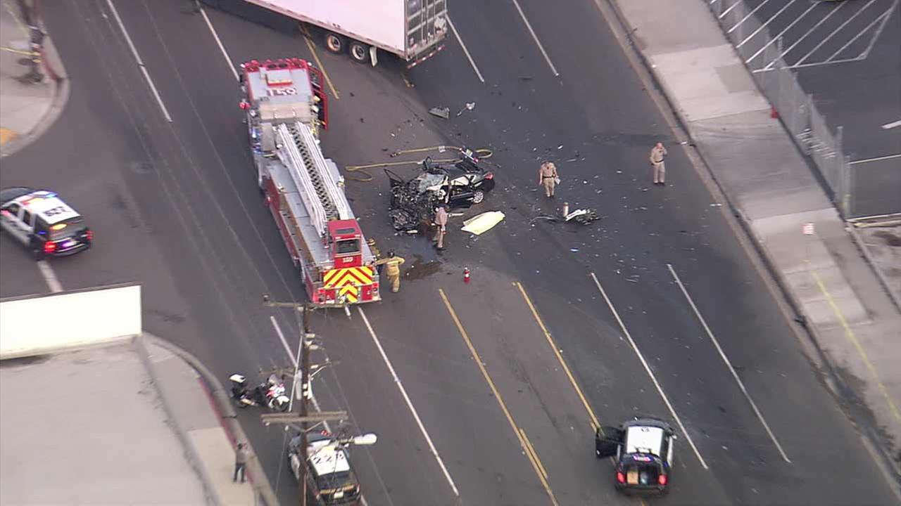 One person was killed and another was hospitalized after a head-on collision between a big rig and a vehicle in Gardena on Wednesday, Dec. 23, 2015.