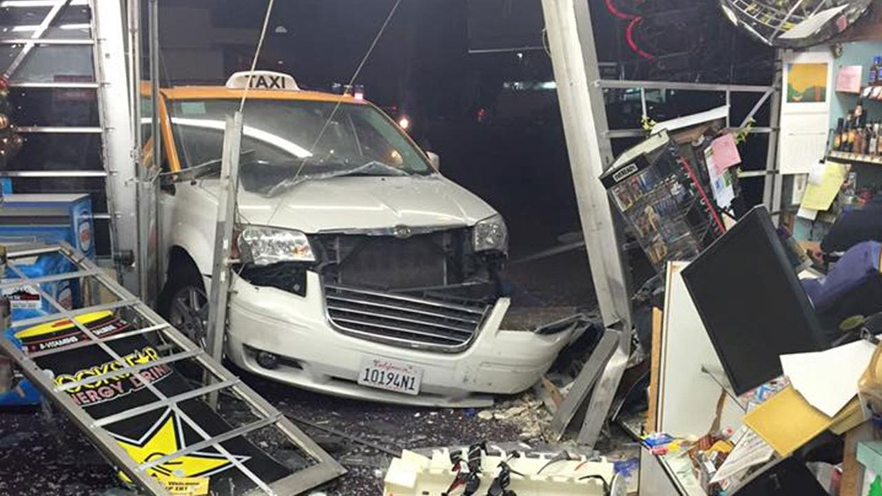 A taxi driver was arrested on suspicion of driving under the influence after crashing his taxi into a liquor store in Tustin on Wednesday, Dec. 23, 2015.