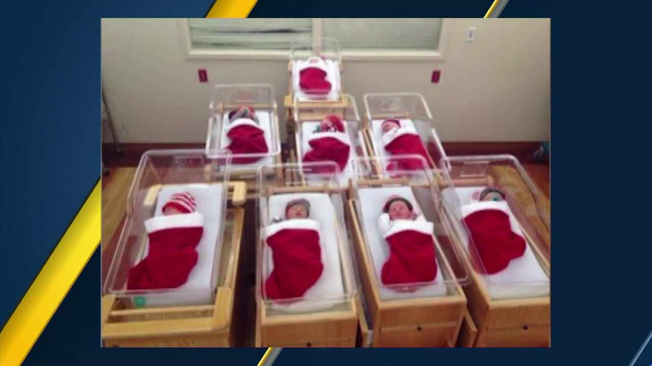 Babies born around Christmas time sleeping peacefully in stockings at a childrens hospital in Pittsburgh on Friday, Dec. 25, 2015.