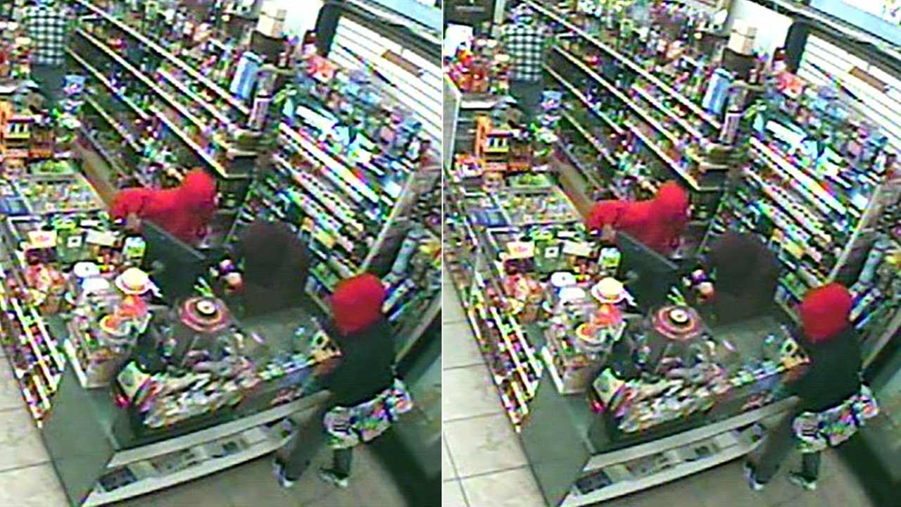 This surveillance photo shows an armed robbery at a liquor store in the 2700 block of N. Macy Street in the Muscoy area of San Bernardino County on Monday, Dec. 28, 2015.