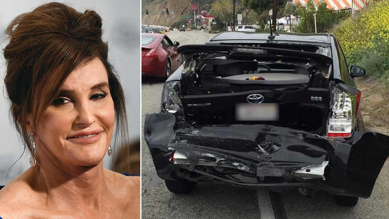 Caitlyn Jenner attends the Glamour Women of of the Year Awards (left). Jessica Steindorffs Toyota Prius is seen in photos released to Eyewitness News by her attorney (right).