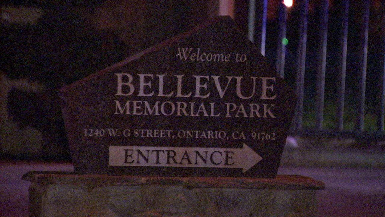 A sign shows the entrance to Bellevue Memorial Park, a cemetery where a shooting took place, in Ontario on Saturday, Jan. 2, 2016.