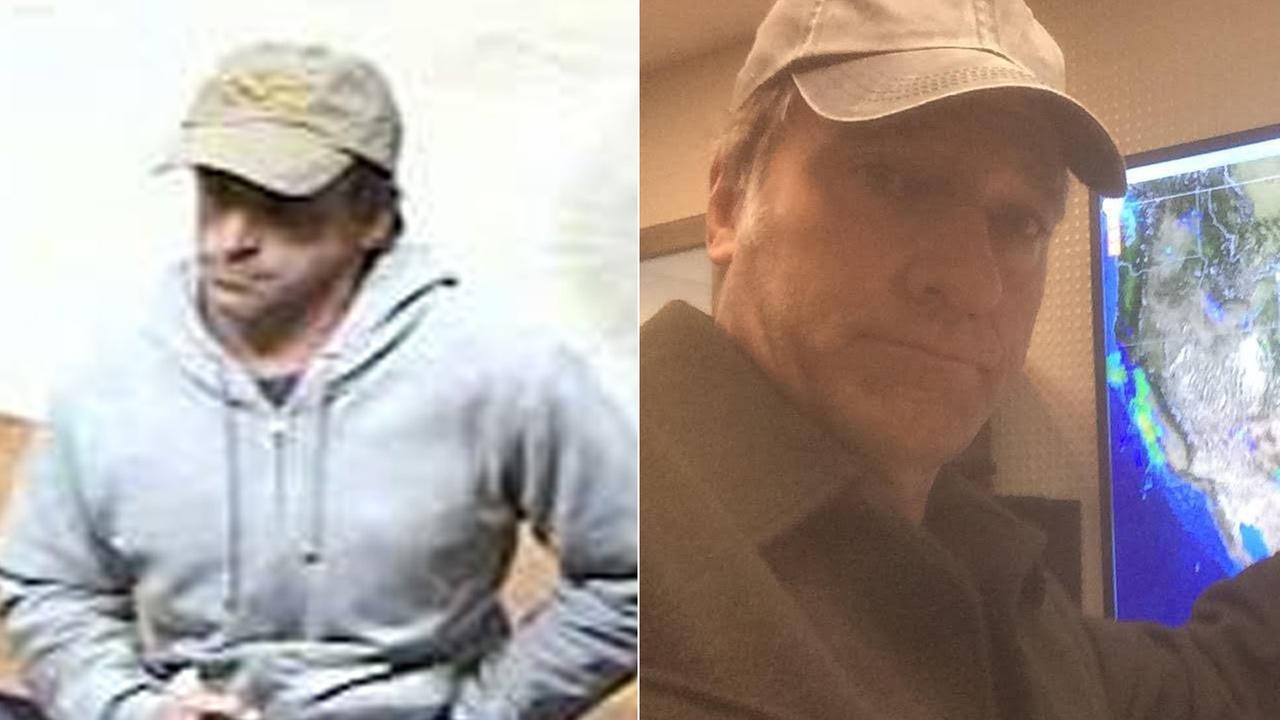 Medford police released a photo, left, of a suspected bank robber. Many on social media were quick to point out his resemblance with Dirty Jobs star Mike Rowe, right.