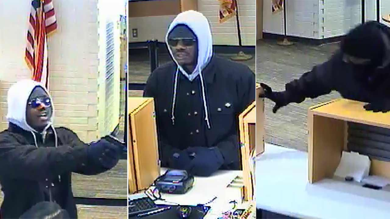 Surveillance photos released by police show a robbery in progress at a Bank of the West at 770 S. Citrus Avenue in Covina on Thursday, Jan. 7, 2016.