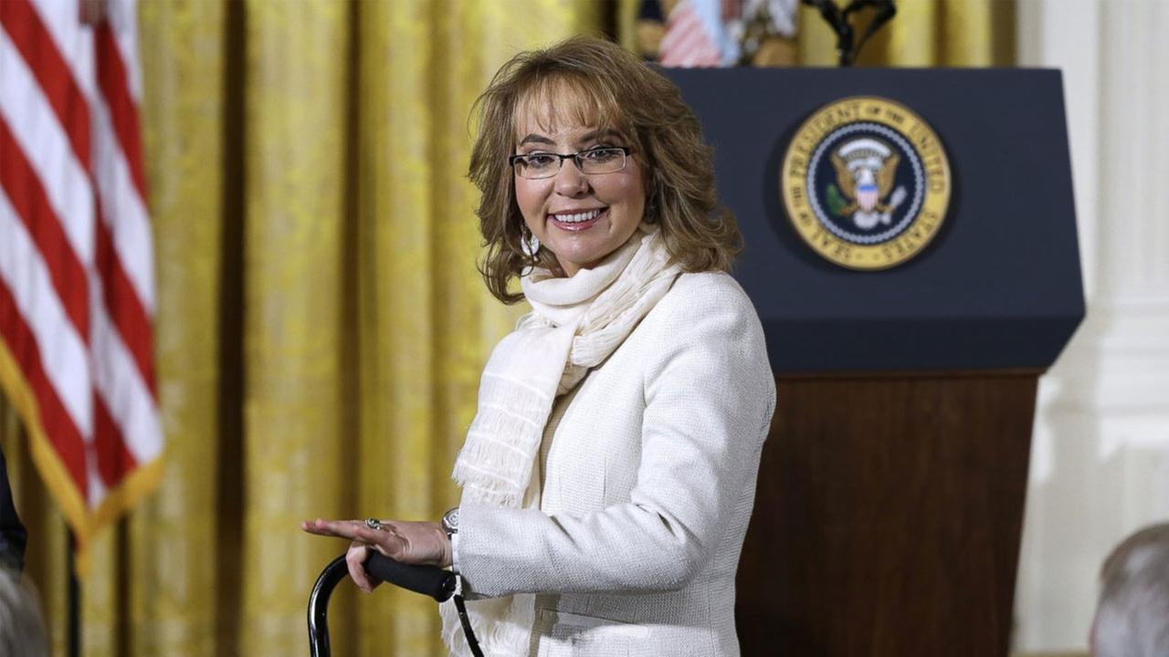 Former Arizona Rep. Gabby Giffords arrives in the East Room of the White House in Washington, Tuesday, Jan. 5, 2016.