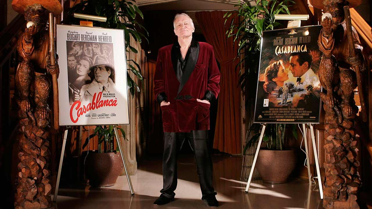 Playboy founder Hugh Hefner is photographed at the entrance to his movie theatre at the Playboy Mansion in the Holmby Hills area of Los Angeles Friday, April 7, 2006.