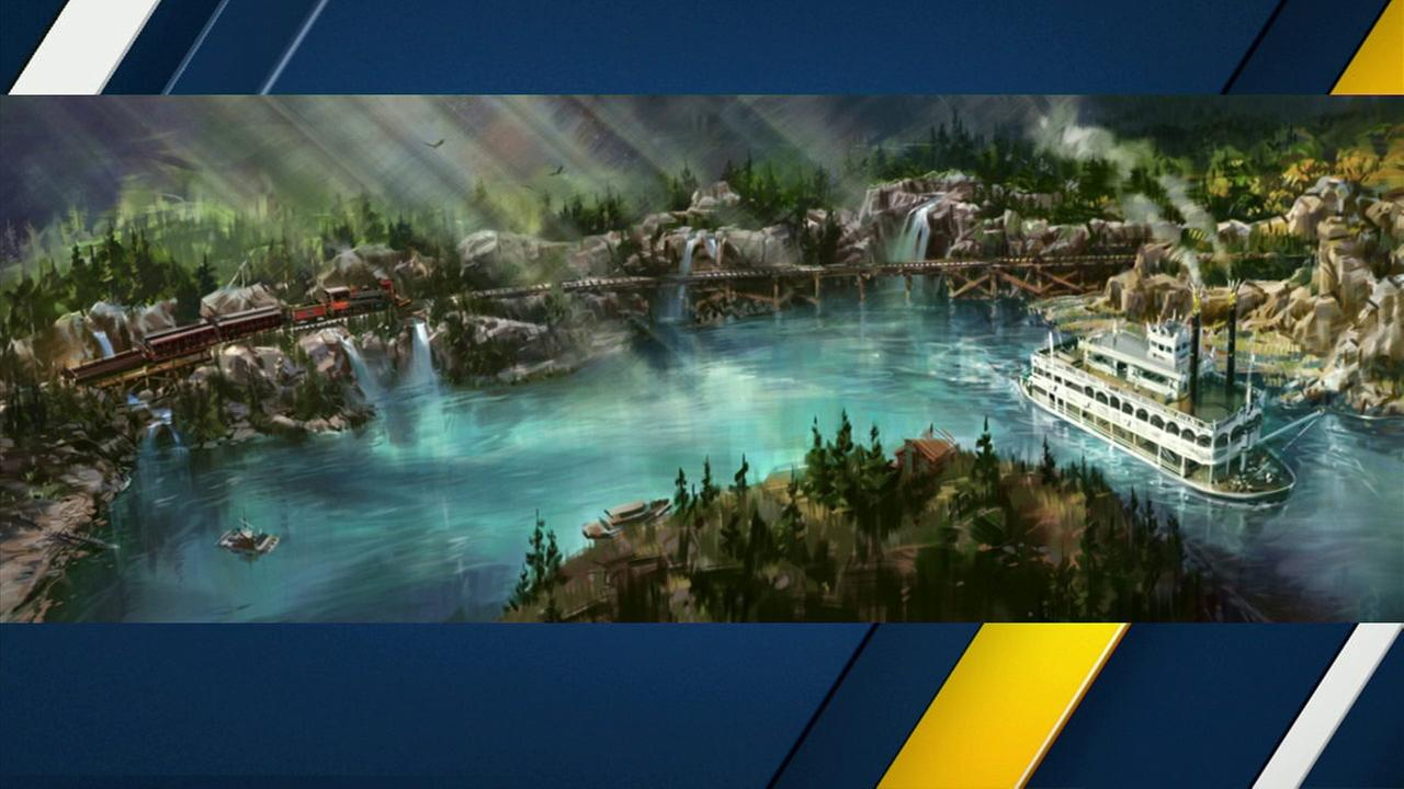 Artist rendering of Rivers of America after the opening of the new Star Wars-themed land.