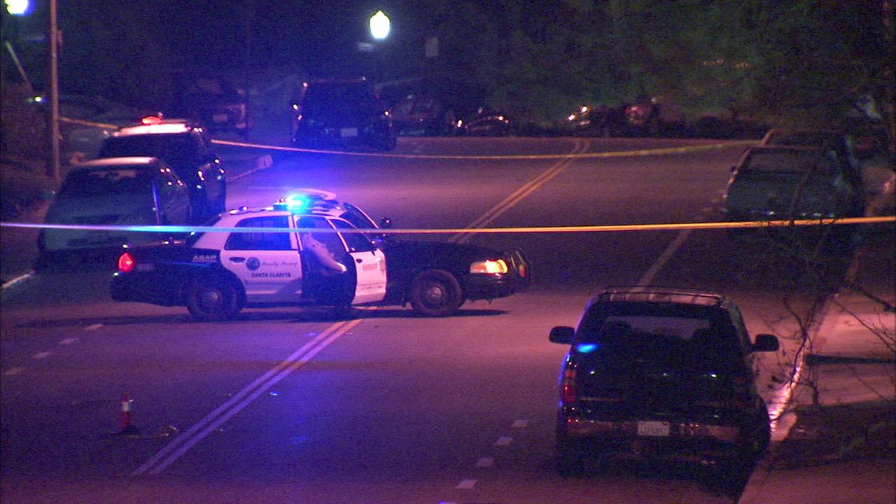 A sheriffs patrol vehicle is seen near the scene of a deputy-involved shooting near Shangri-La and Nathan Hills drives in Santa Clarita on Thursday, Jan. 14, 2016.