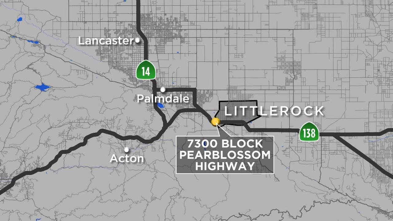 A map shows the location of a medical marijuana dispensary in Liittlerock, California. A worker at the shop was shot and injured during an armed robbery on Thursday, Jan. 14, 2016.