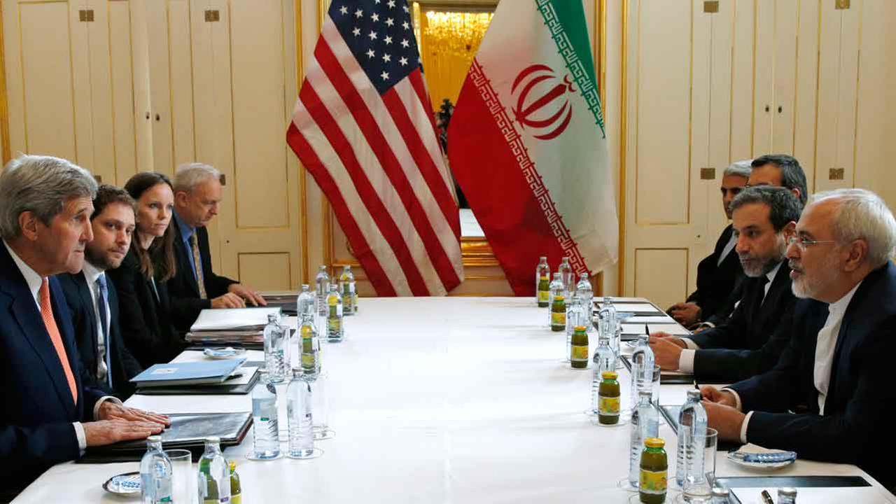 Secretary of State John Kerry meets with Iranian Foreign Minister Mohammad Javad Zarif in Vienna, Austria, Saturday, Jan. 16, 2016, on what is expected to be implementation day.