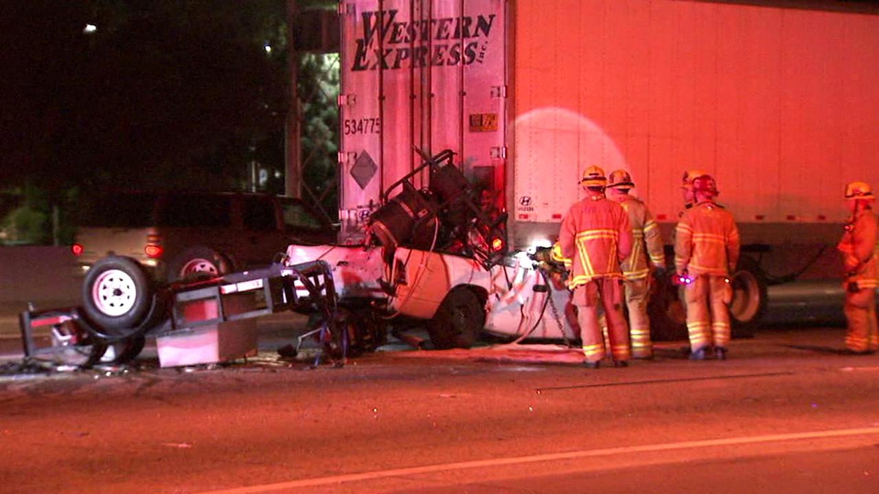 A pickup truck driver plowed into the back of a big rig on the northbound 57 Freeway near Yorba Linda Boulevard in Fullerton Wednesday, Feb. 3, 2016.