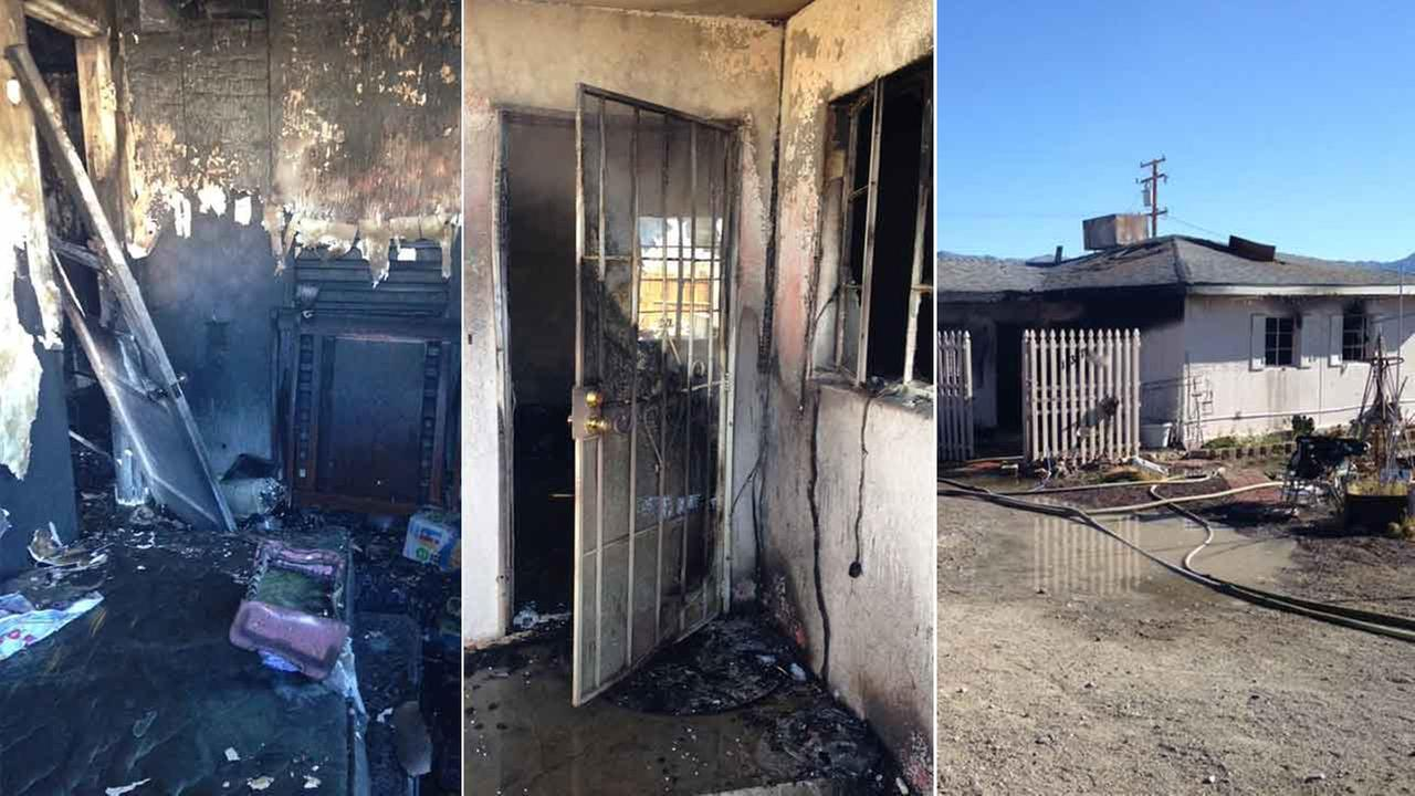A father saved his wife and four children from their burning home in the unincorporated community of Trona in San Bernardino County Saturday, Feb. 6, 2016.