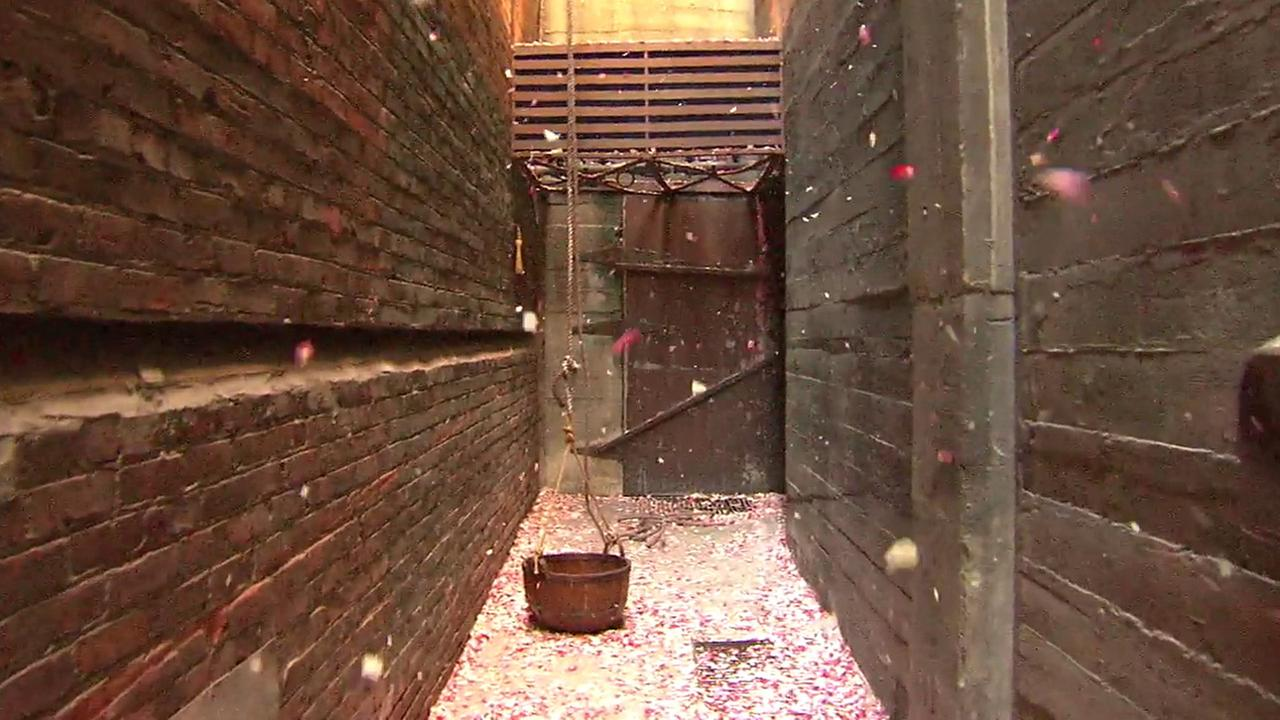An alley in downtown Los Angeles became covered in flower petals as part of an anonymous art installation on Saturday, Feb. 6, 2016.