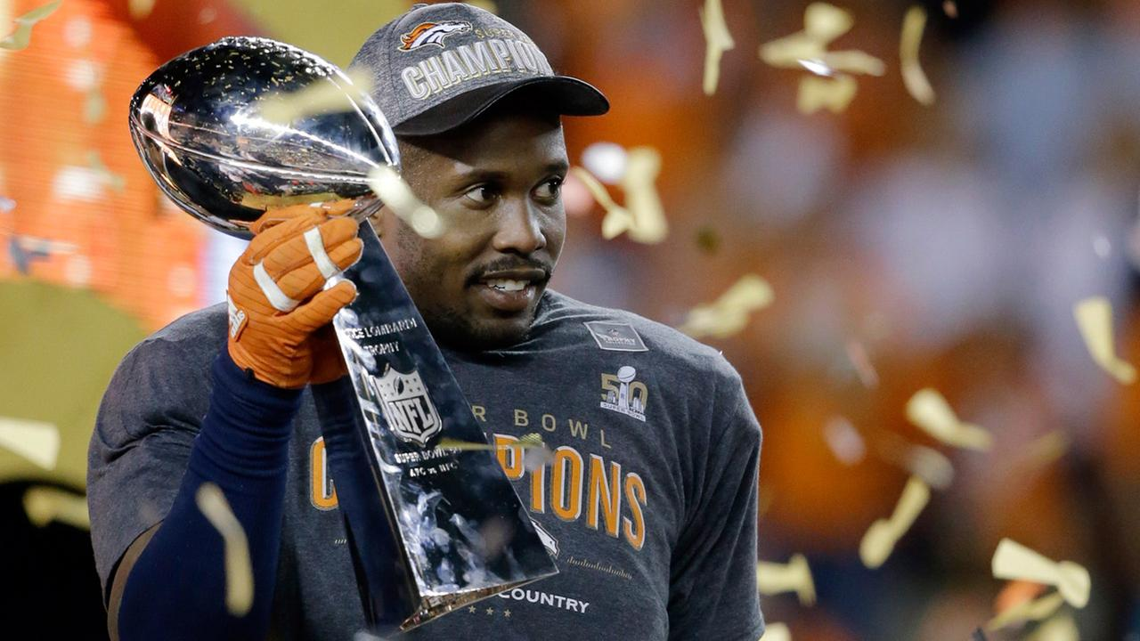 Denver Broncos Von Miller holds the Lombardi Trophy after the NFL Super Bowl 50 football game against the Carolina Panthers, Sunday, Feb. 7, 2016, in Santa Clara, Calif.