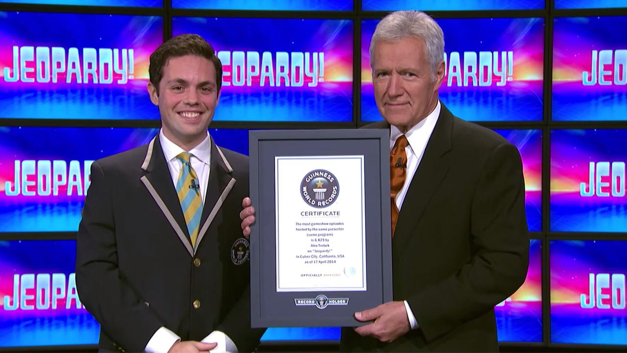 Jeopardy! host Alex Trebek was awarded  with Guinness World Record on Friday, June 13, 2014, for the most game show episodes hosted by the same presenter (one show).