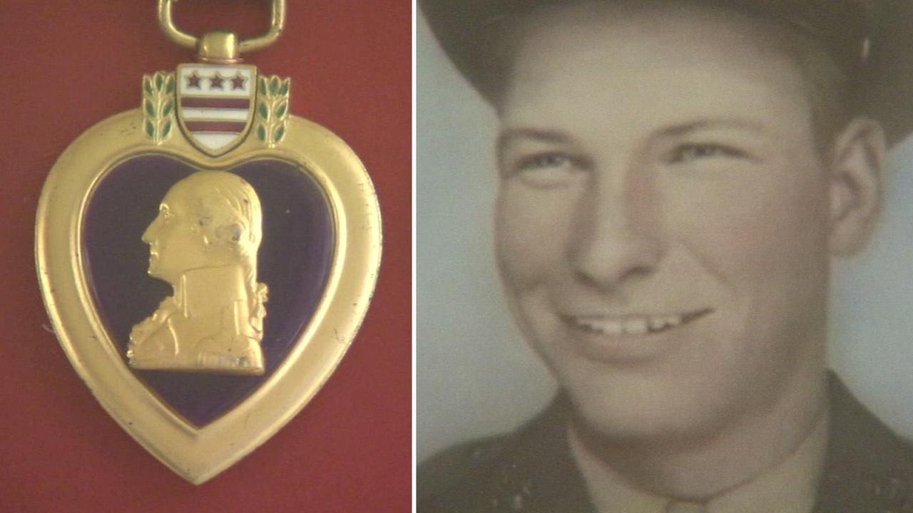 The Purple Heart of Marine Pfc. Nolan McKinney, who died in the Battle of Guadalcanal in 1942, was returned to his family in Lake Elsinore, California, on Friday, Feb. 12, 2016.
