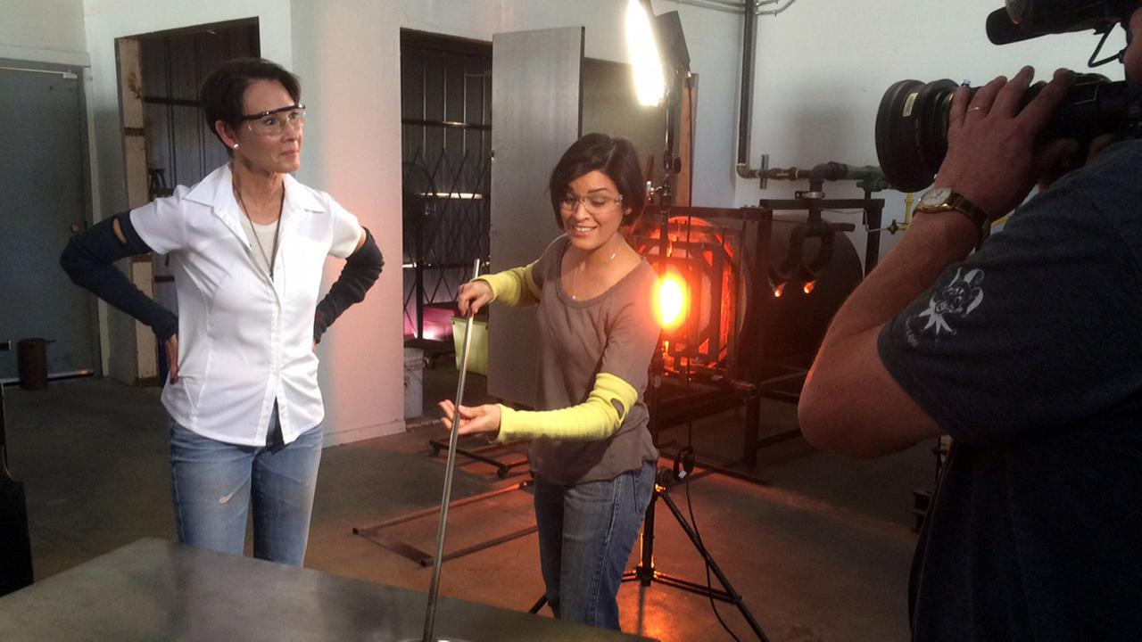 Tina Malave tries glassblowing in Los Angeles.