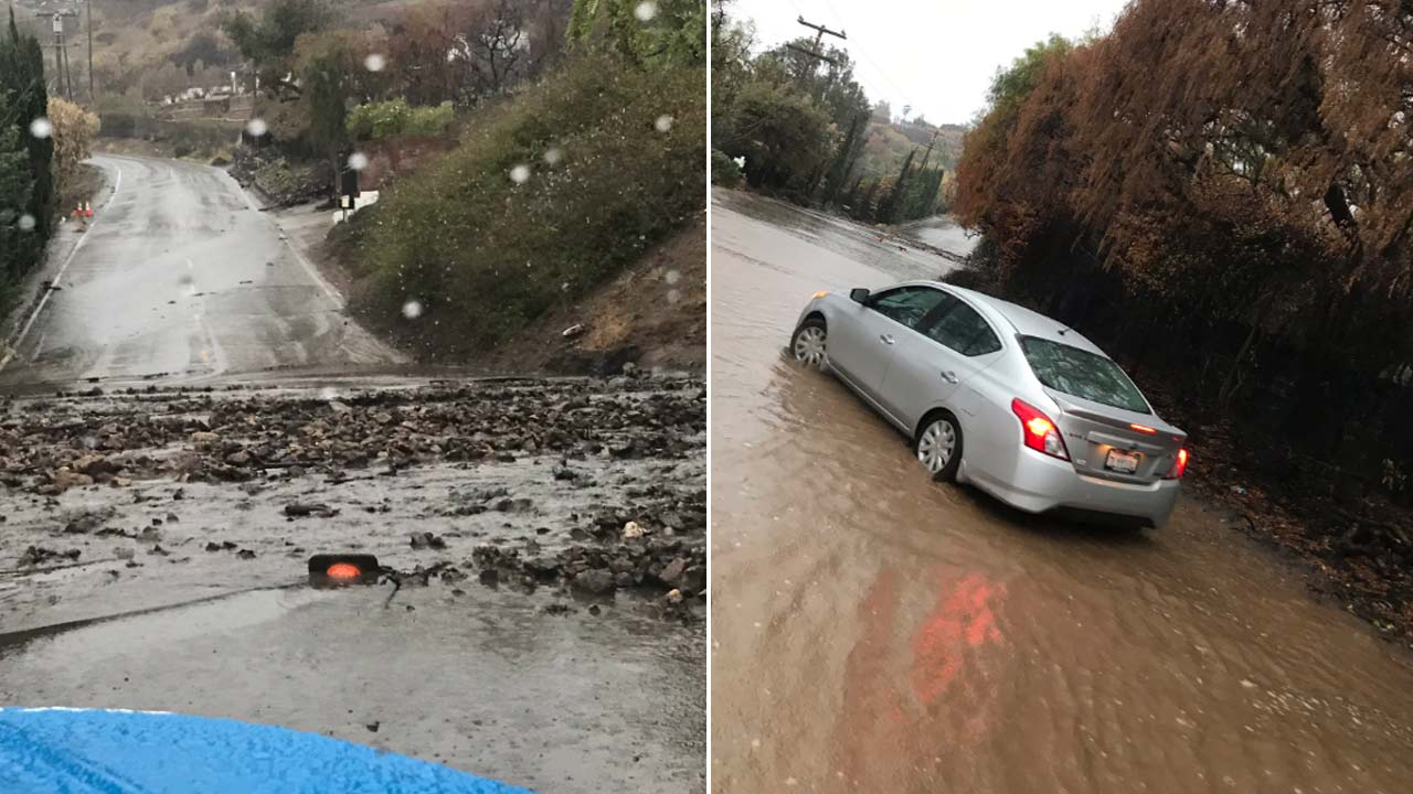 Mud flows are seen in Malibu following intense rain on Thursday, Dec. 6, 2018.