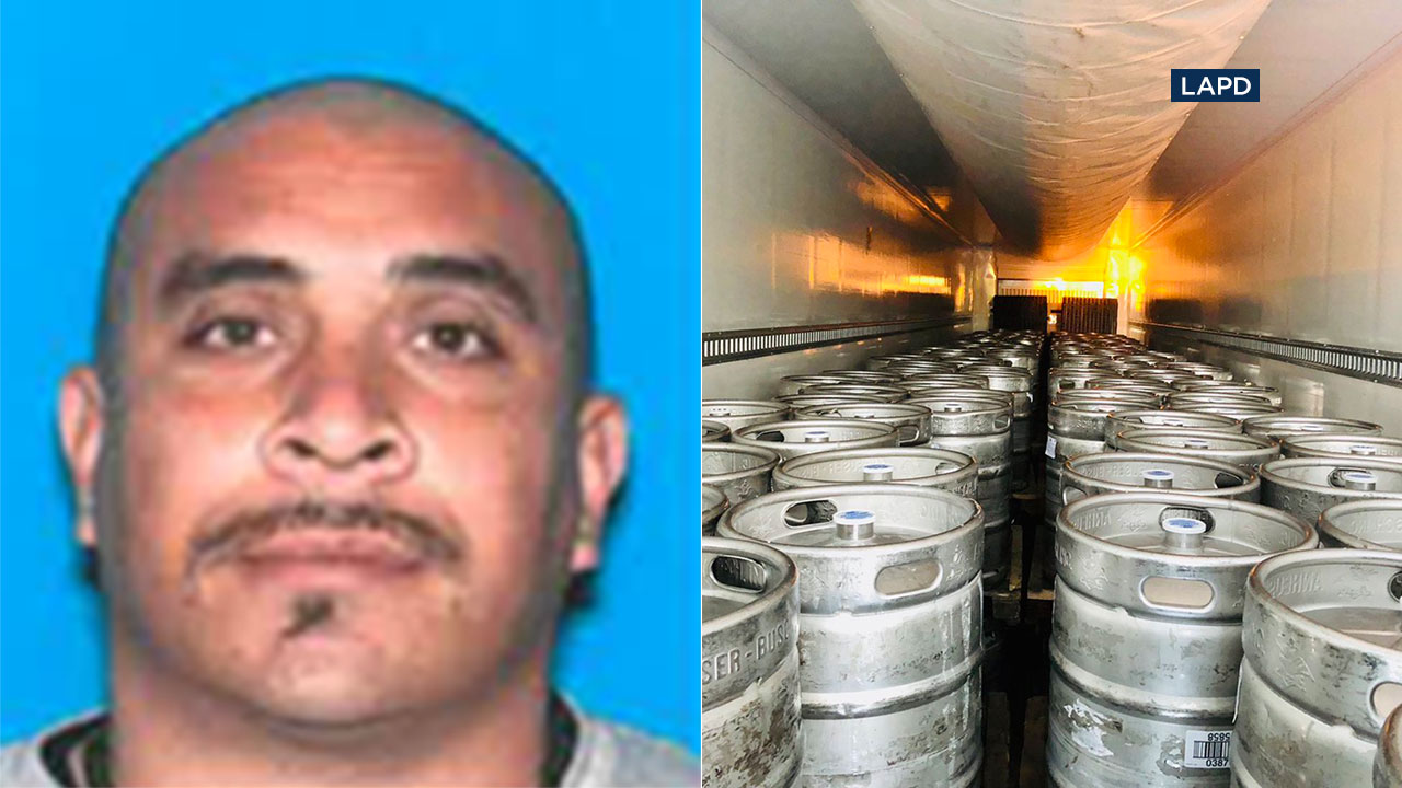 Jose Rodriguez is sought as a person of interest after police say a semi-truck with several beer kegs, pictured on the right, went missing.