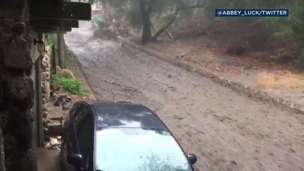 A river of mud flowed down Country Club Drive in Burbank.