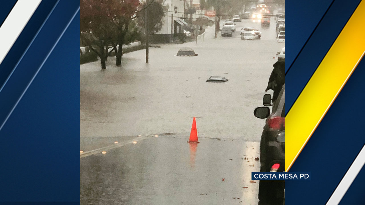 Costa Mesa police are warning people to stay away from the flooded area of 17th Street and Pomona Avenue.