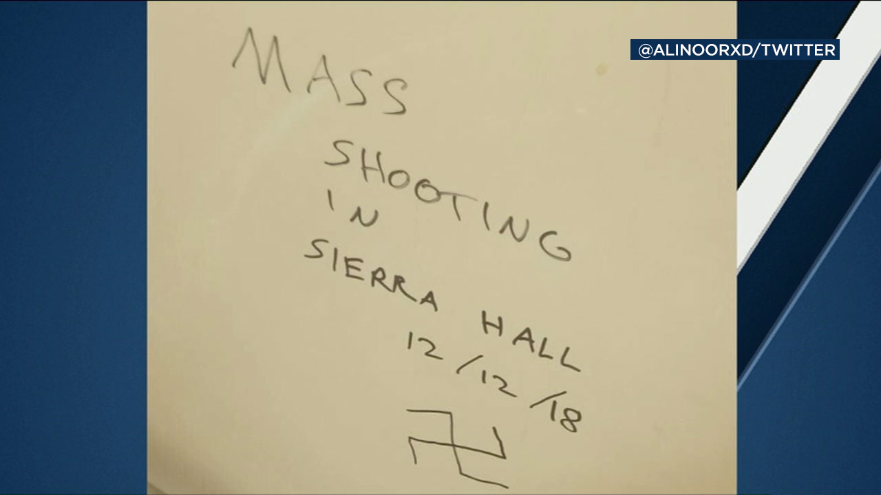 A mass shooting threat was discovered inside a bathroom at Cal State Northridge on Dec. 5, 2018.
