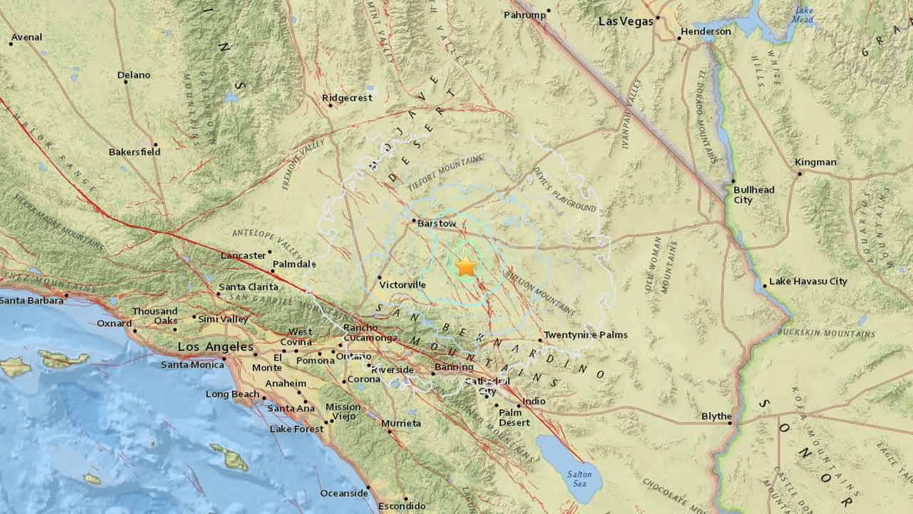 A 4.3-magnitude earthquake struck near Lucerne Valley, Calif., on Friday, Feb. 19, 2016.