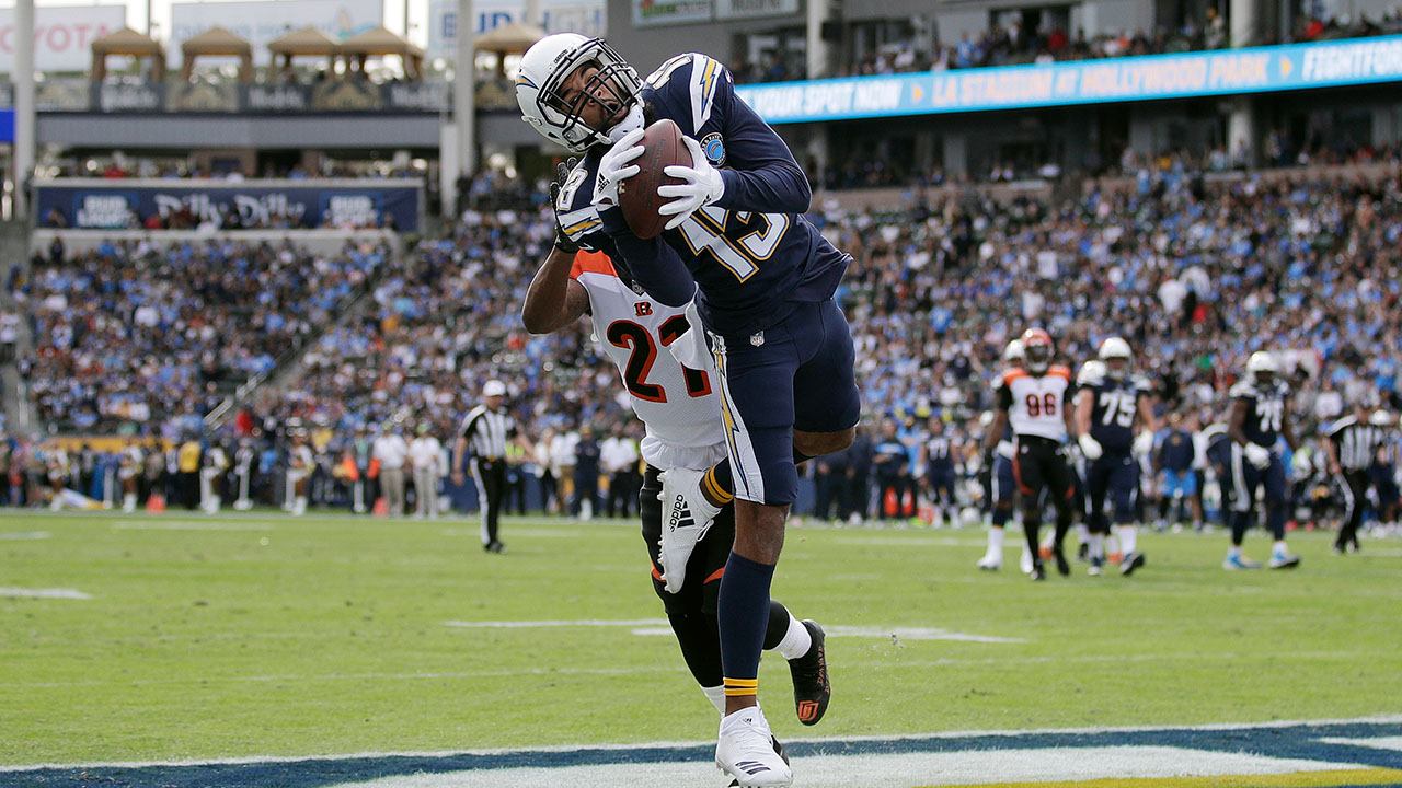 Los Angeles Chargers wide receiver Keenan Allen makes a touchdown catch in a game against the Cincinnati Bengals on Sunday, Dec. 9, 2018 in Carson.