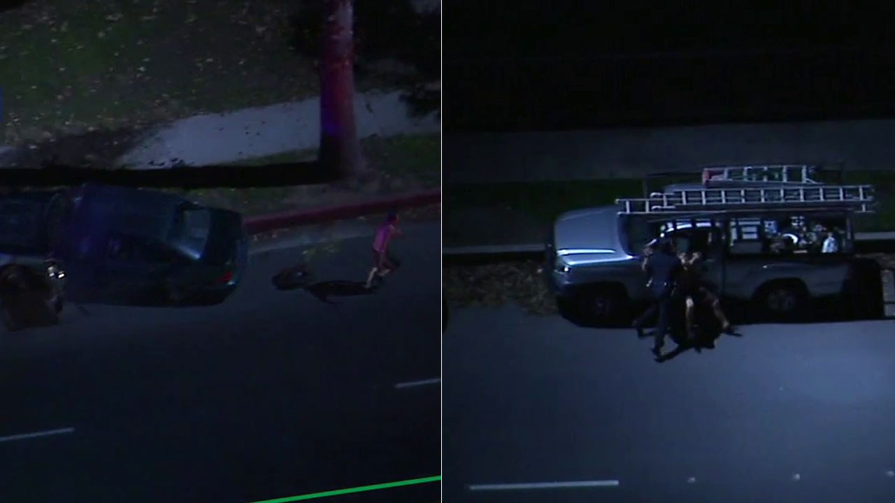 A DUI suspect ran from a vehicle following a chase in Northridge and was later tackled by an LAPD officer on Monday, Dec. 10, 2018.