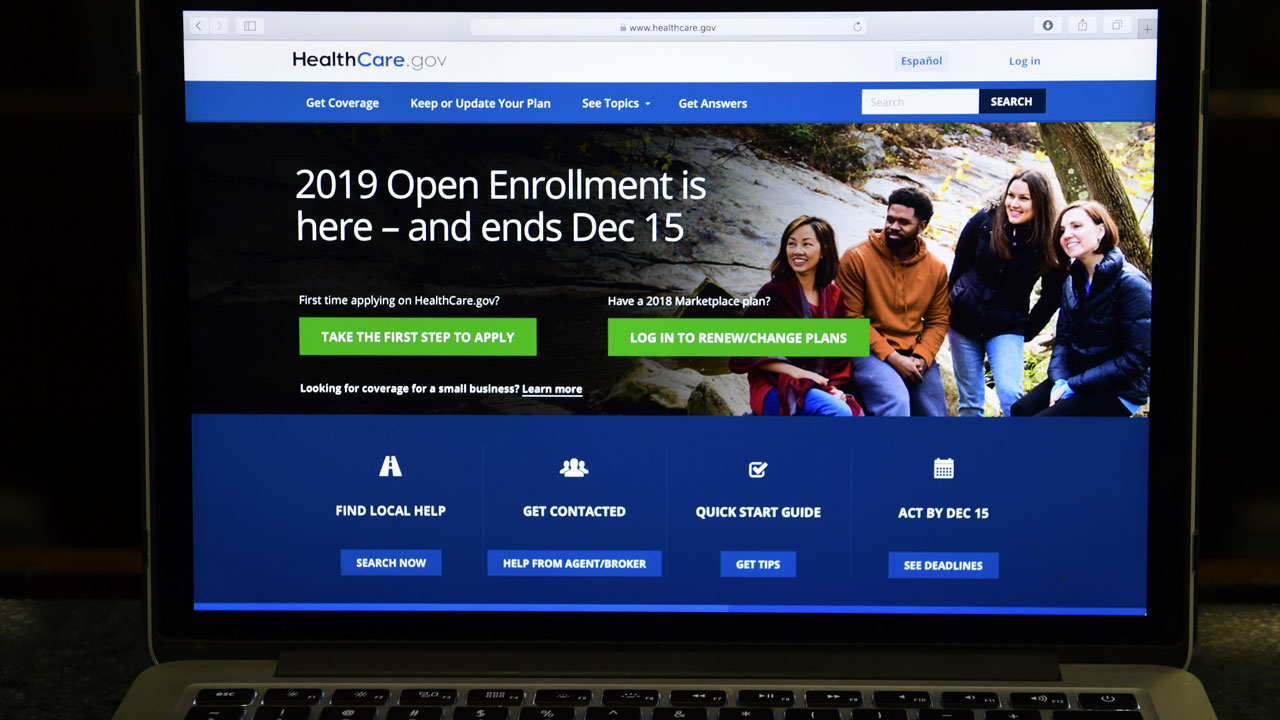 The federal website where consumers can sign up for health insurance under the Affordable Care Act is shown on a computer screen in Washington, Thursday, Nov. 1, 2018.
