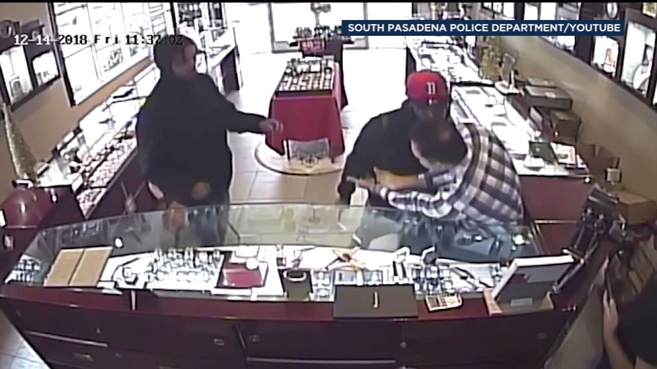 Attempted robbery suspects are shown in surveillance video at a jewelry store in South Pasadena.