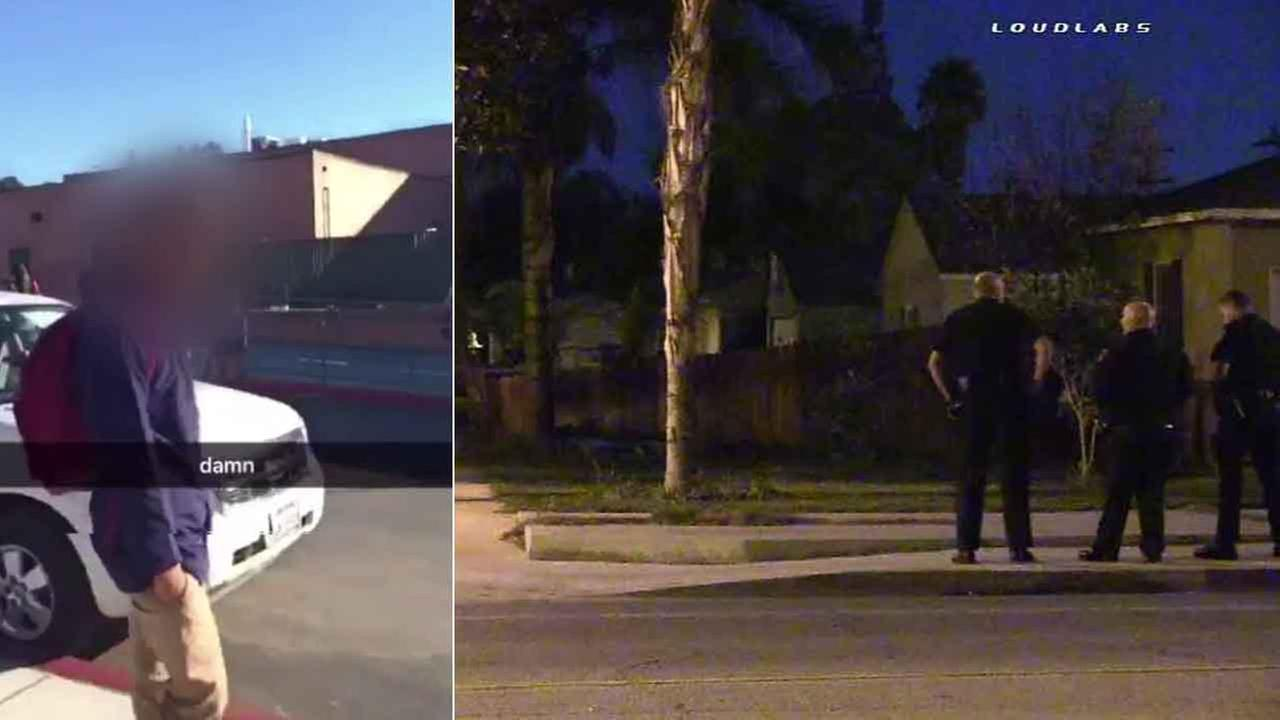 Riverside police respond to a bogus emergency call Tuesday, Feb. 23, 2016 at the home of the teen who filmed and posted the viral Damn Daniel video.