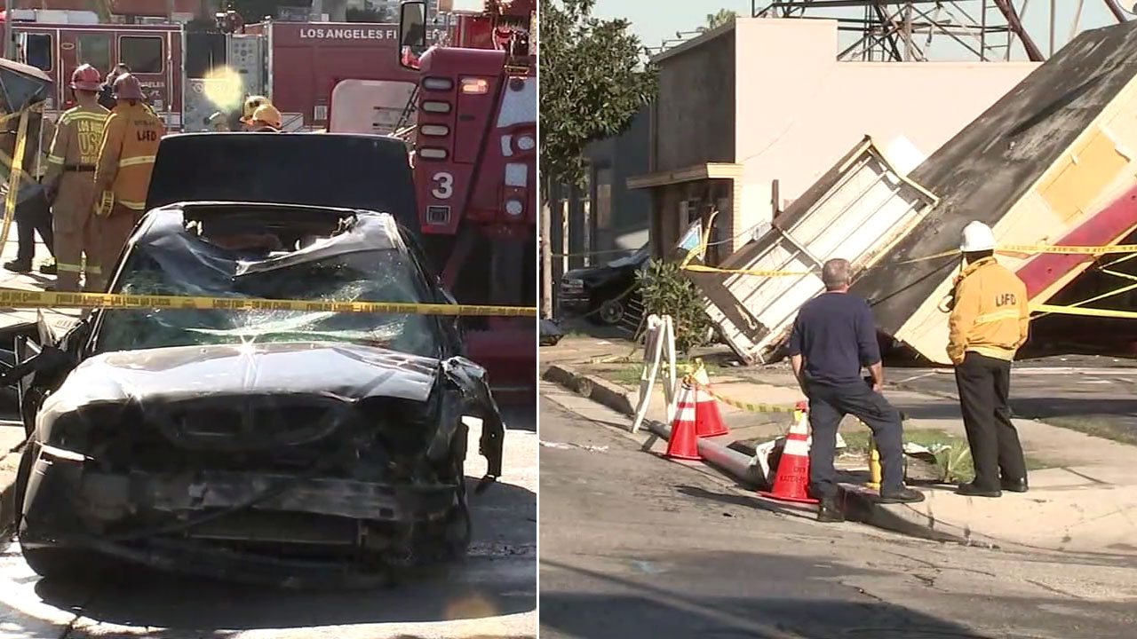 A smashed vehicle is shown alongside an image of a partially collapsed building the vehicle crashed into in Hyde Park.