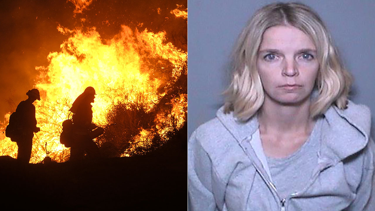 Ashley Bemis, 28, is accused of fraudulently raising money as she posed as the wife of a firefighter battling the Holy Fire.
