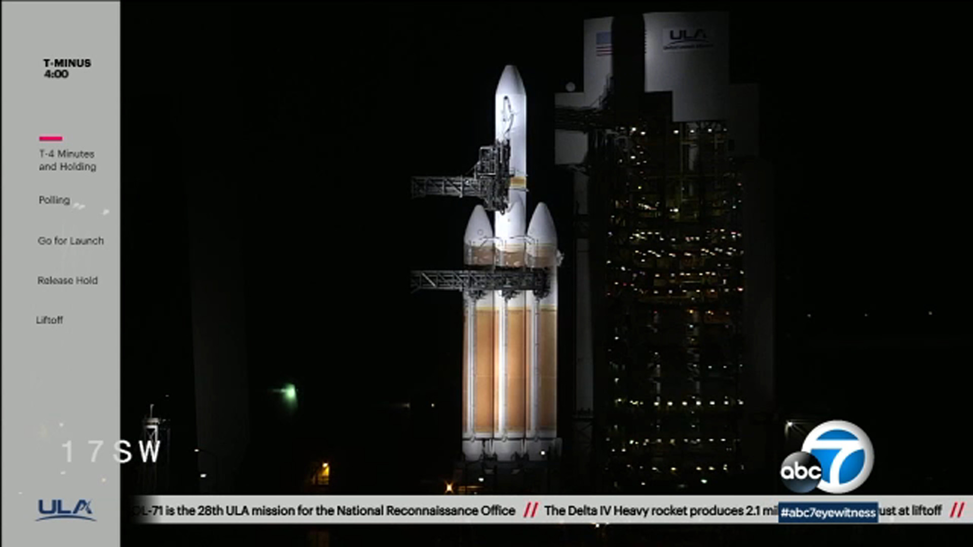 A photo from the ULA website stream as a rocket launch from Vandenberg Air Force Base is canceled on Wednesday, Dec. 19, 2018.