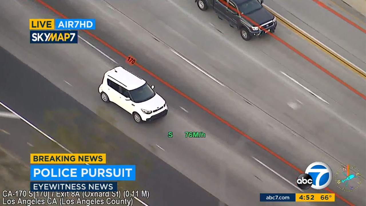 Authorities were chasing suspects in a white Kia Soul at high speeds on freeways in the Glendale and Los Angeles area.