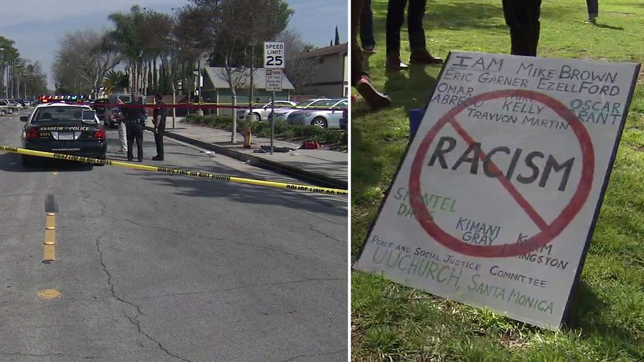 Anaheim police said three people were stabbed at a Ku Klux Klan gathering in Anaheim on Saturday, Feb. 27, 2016.
