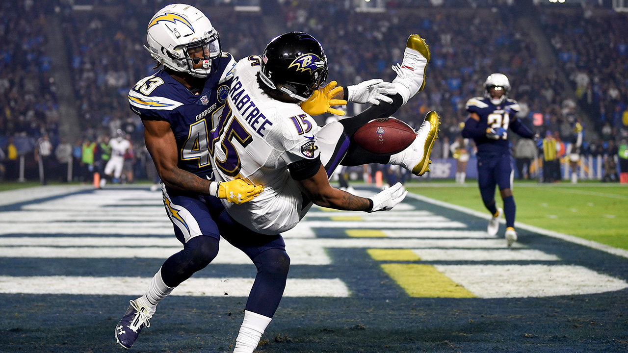 L.A. Chargers cornerback Michael Davis breaks up a pass intended for Baltimore Ravens wide receiver Michael Crabtree during a game Saturday, Dec. 22, 2018, in Carson, Calif.